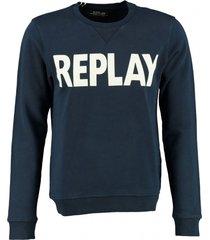 replay zachte blauwe slim fit sweater - valt 1 maat kleiner