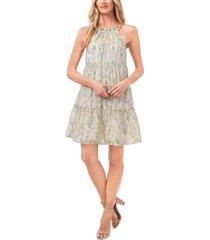 cece sleeveless ruffled garden-print dress