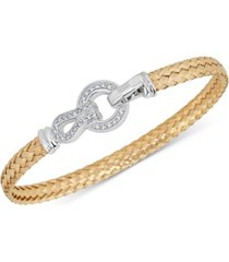 diamond horseshoe braided mesh bangle bracelet (1/4 ct. t.w.) in sterling silver & 14k gold-plate