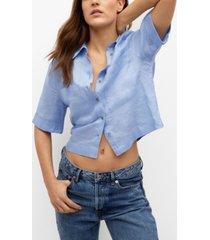mango women's crop linen shirt