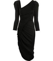 elisabetta franchi ruched jersey dress - black