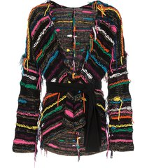 canessa frayed knit cardigan - brown