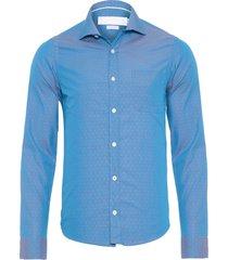 camisa masculina sarjan maquineta constraste - azul
