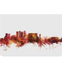 "michael tompsett cape town south africa skyline red canvas art - 15"" x 20"""