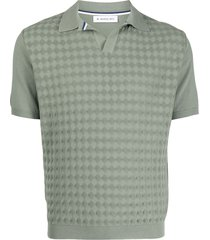 manuel ritz diamond intarsia-knit polo shirt - green