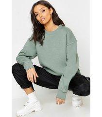 basic oversized sweater met ronde hals, salie