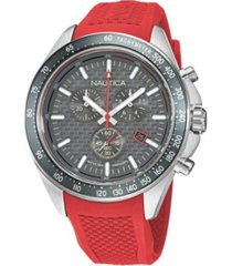 nautica men's analog red silicone strap watch 46 mm
