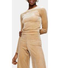 women's topshop velour crop top, size small - beige
