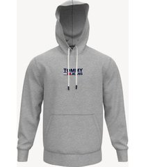 tommy hilfiger men's logo hoodie metal grey heather - s