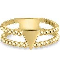 anel life bolinhas triângulo com banho ouro amarelo - feminino