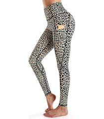 leggings deportivos con bolsillos laterales con estampado animal