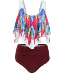 feather print ruched overlay tankini swimsuit