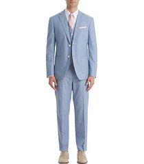lauren by ralph lauren men's classic fit suit separates pants light blue chambray - size: 52w x 32l