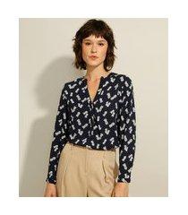 camisa ampla de viscose estampada de abacaxi manga longa decote v azul marinho