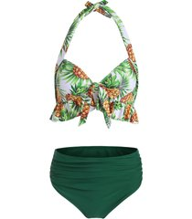 pineapple ruffle halter tummy control bikini swimwear