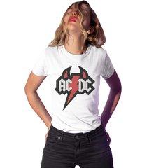 camiseta basica my t-shirt devil acdc branco