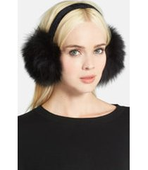 women's kyi kyi genuine fox fur earmuffs - black