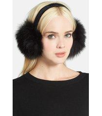 women's kyi kyi genuine fox fur earmuffs - black