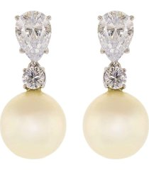 pearl and cubic zirconia drop earrings 14mm
