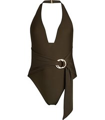 wrapped halter one-piece swimsuit