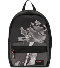 diesel rose print backpack - black