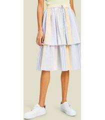 tommy hilfiger women's archive stripe midi skirt lemon ice / multi - 10