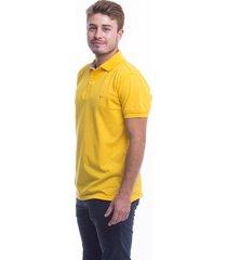 camiseta tipo polo hamer,  con bordado, para hombre ,color amarillo oro