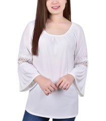 ny collection petite elastic neck tunic with crochet