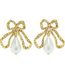 pierce pearl drop bow earrings