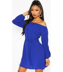 off shoulder belted shift dress, blue