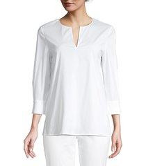 lafayette 148 new york whalen slit blouse - white - size s