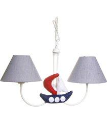lustre 2l simples com 2 barcos nã¡utico quarto marinheiro  potinho de mel marinho - azul marinho - menino - dafiti