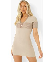 contrasterende geribbelde gebreide mini jurk met polo kraag, light stone
