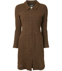 chanel pre-owned 1997 fitted tweed dress - brown