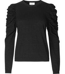 lurex trui met pofmouwen ytta  zwart