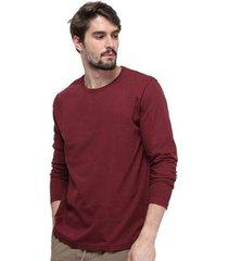 camiseta manga longa bordô 100% algodão new di nuevo masculina - masculino
