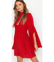 boho high neck wide sleeve shift dress, berry