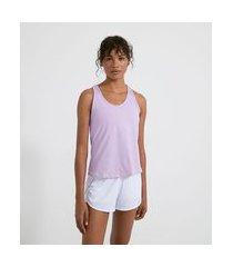 blusa regata nadador esportiva em poliamida com costas em tela | get over | roxo | gg