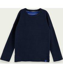 scotch & soda cotton-blend long sleeve reversible pullover