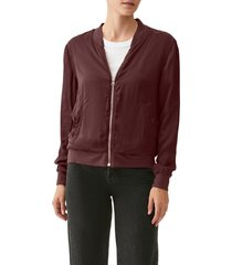 women's michael stars cash bomber jacket, size large - purple