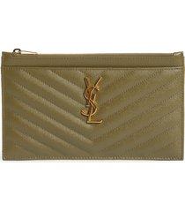 women's saint laurent monogramme quilted leather zip pouch - beige