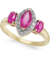 certified ruby (1-3/8 ct. t.w.) & diamond (1/6 ct. t.w.) marquise statement ring in 14k gold