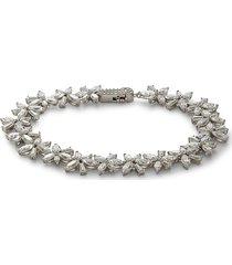 adriana orsini women's soirée cubic zirconia & sterling silver floral bracelet