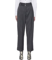 belted roll-up cuff stripe suiting pants