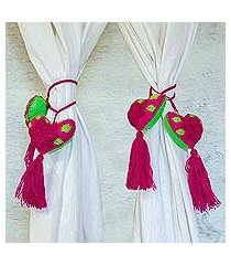 wool and cotton curtain tiebacks, 'magenta beauty' (set of 4) (mexico)