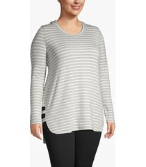 lane bryant women's active striped hooded tunic 18/20 gray and white