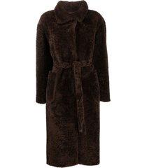 suprema belted fur coat - brown