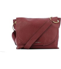 coccinelle dark red essentielle shoulder bag