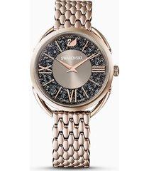 orologio crystalline glam, bracciale di metallo, grigio, pvd tonalitã oro champagne