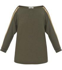 bluzka khaki złoty pasek